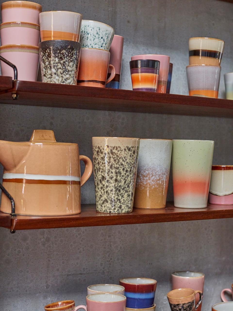 Handgemachte Cappuccinotassen 70's im Retro Style, 4 Stück, Steingut, Rosa, Beige, Ø 12 x H 9 cm