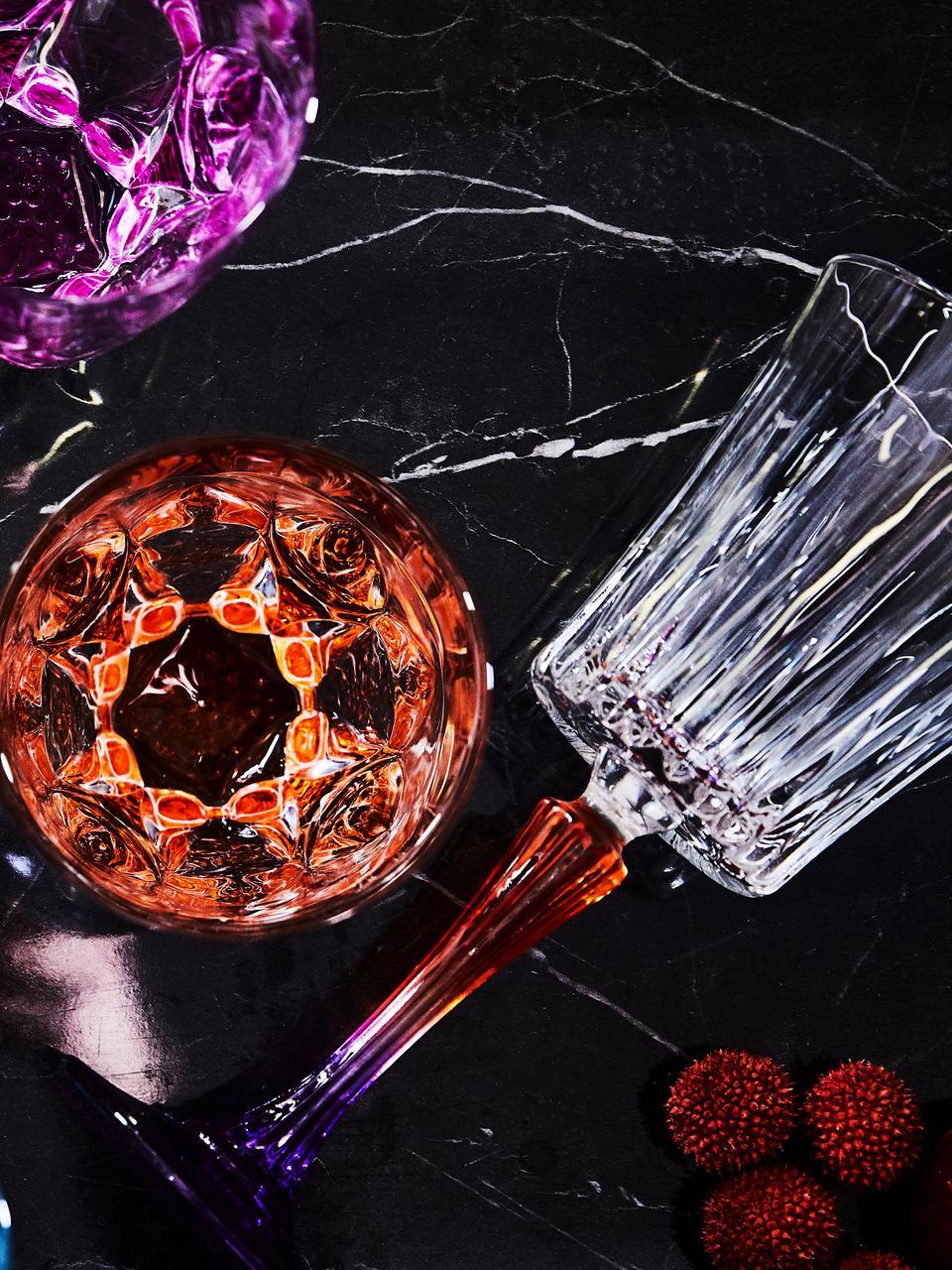 Kristall-Weißweingläser Gipsy mit zweifarbigem Stiel, 6er-Set, Luxion-Kristallglas, Transparent, Orange, Lila, Ø 9 x H 21 cm