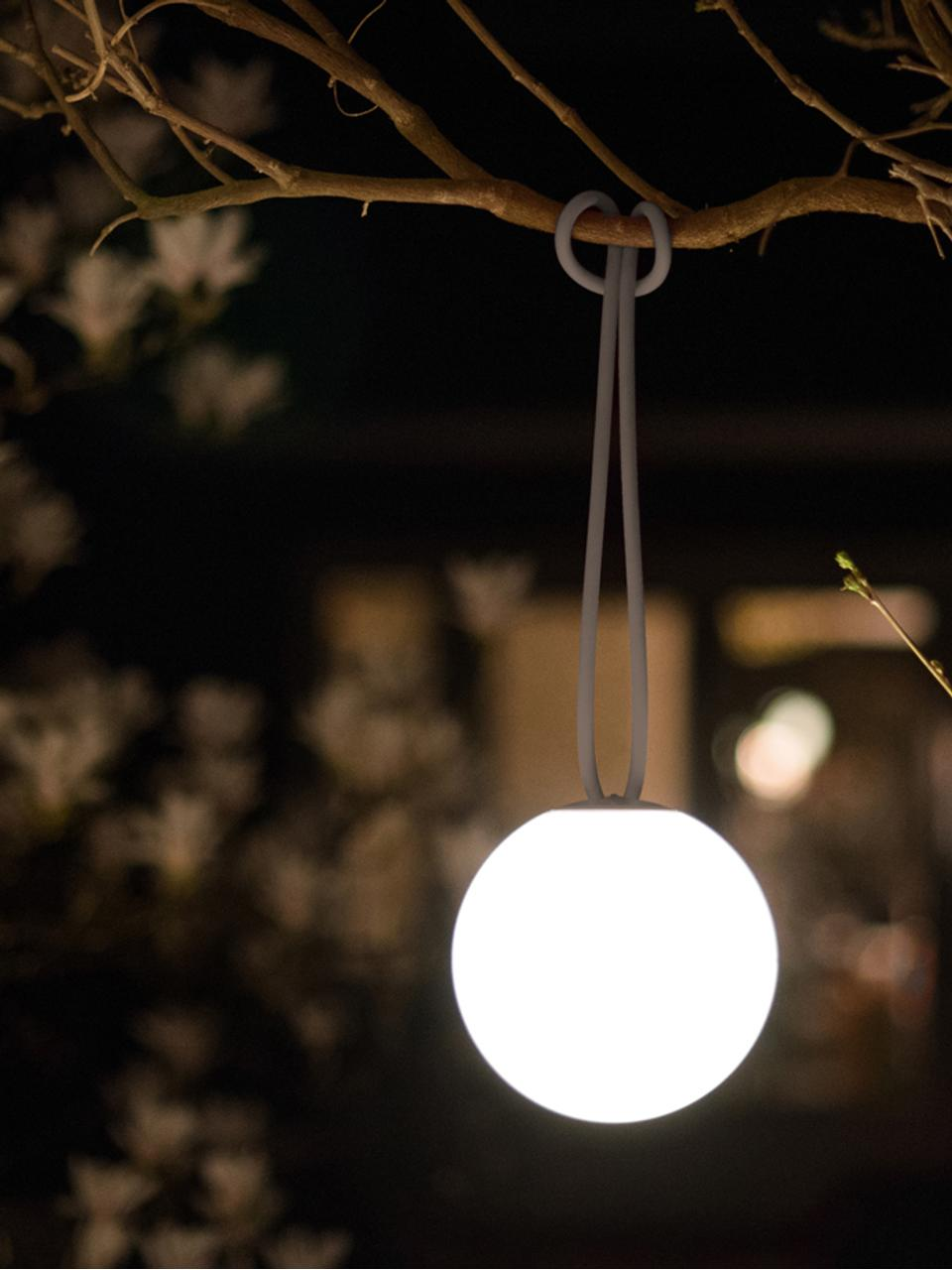 Mobile LED-Außenleuchte Bolleke, Weiß, Taupe, Ø 20 x H 20 cm