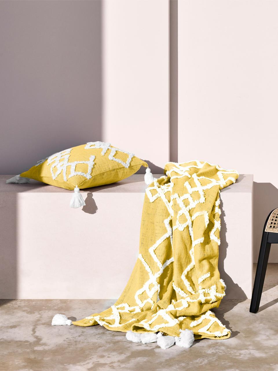 Pled Tikki, Bawełna, Żółty, S 130 x D 170 cm