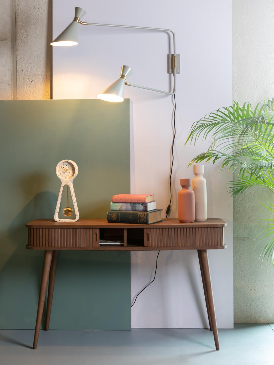 Houten bijzettafel Barbier met opbergruimte, Frame: MDF, walnoothoutfineer, Walnoothoutkleurig, B 120 x D 35 cm