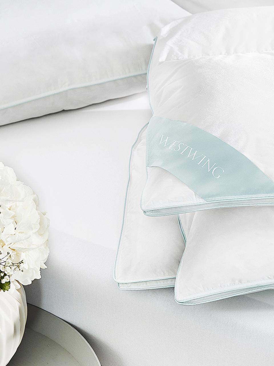 Puchowa kołdra kasetowa Comfort, ciepła, Biały, S 135 x D 200 cm