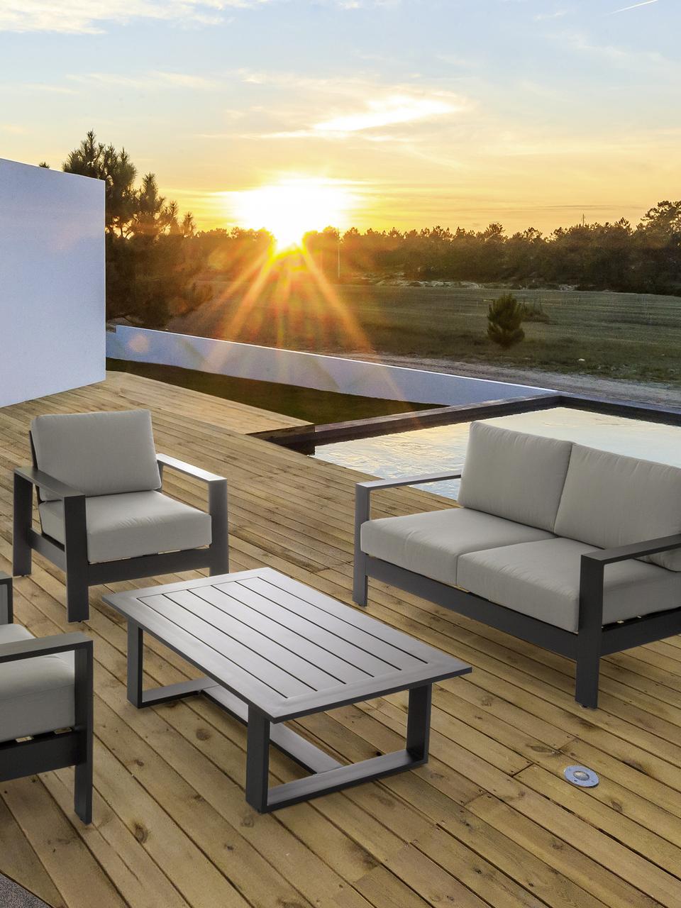 Outdoor loungeset Atlantic, 4-delig, Frame: gepoedercoat aluminium, Antraciet, lichtgrijs, Set met verschillende formaten