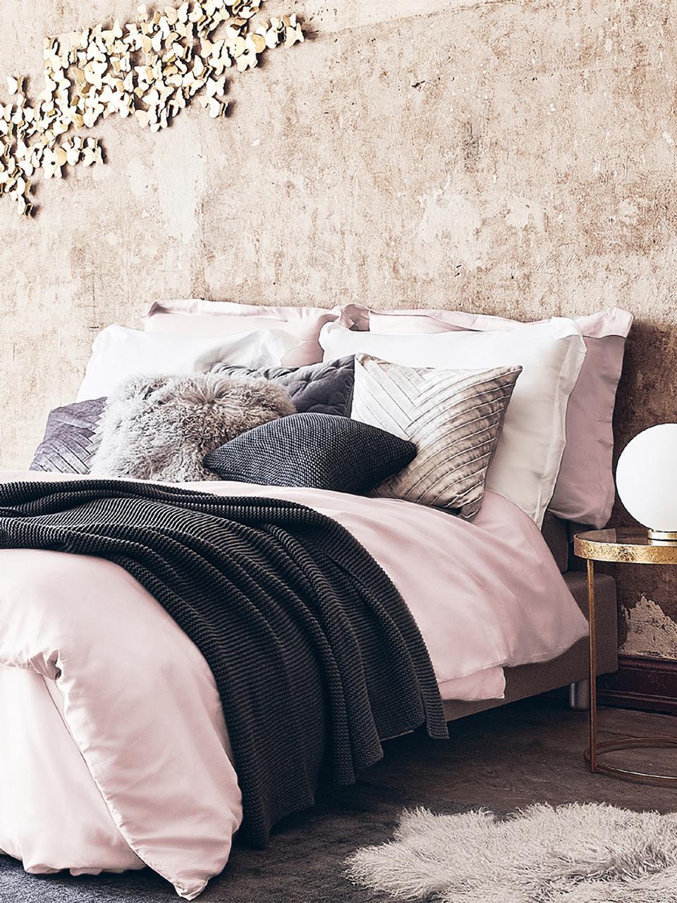 Parure copripiumino in raso di cotone rosa Premium, Tessuto: raso, leggermente lucido, Rosa, 155 x 200 cm