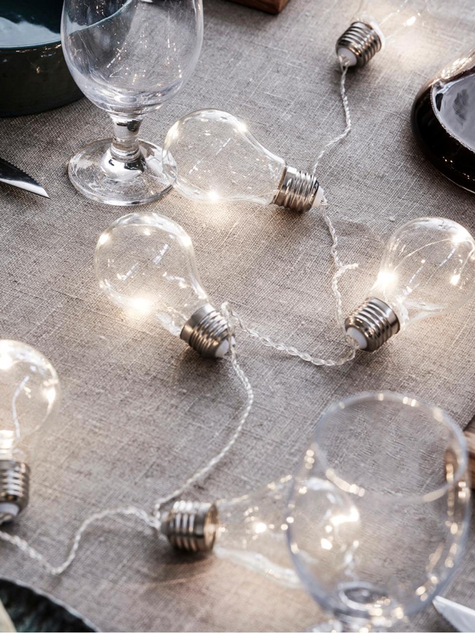 LED-Lichterkette Glöd, Glas, Metall, Transparent, Stahl, L 200 cm