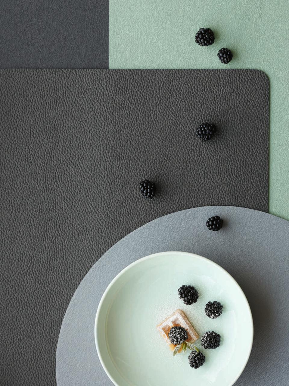 Kunstleder-Tischsets Pik, 2 Stück, Kunstleder (PVC), Schwarz, 33 x 46 cm