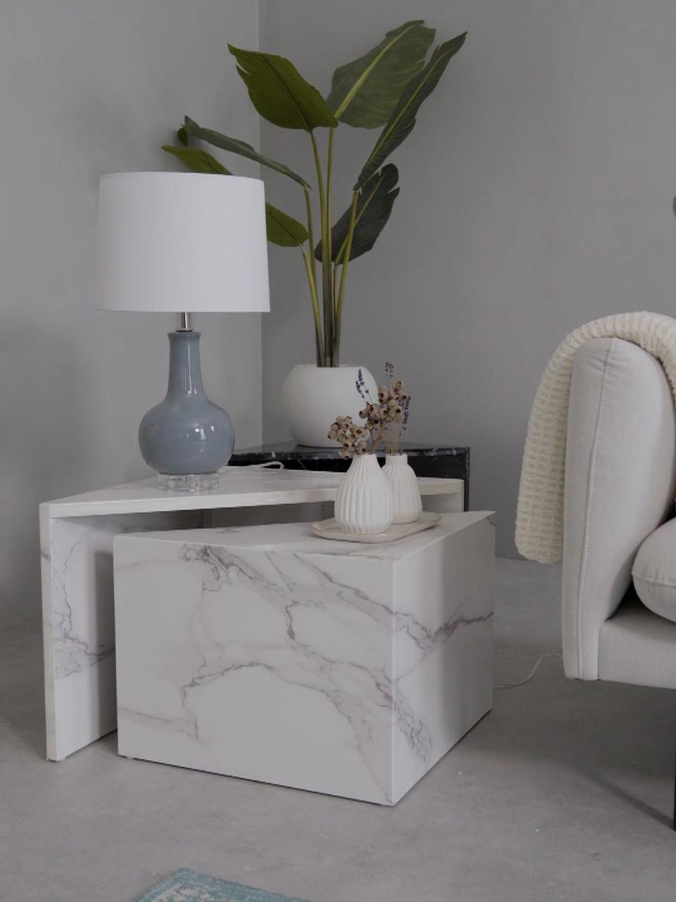Lampada da tavolo in ceramica Brittany, Paralume: tessuto, Base della lampada: ceramica, Bianco, grigio, Ø 28 x Alt. 48 cm