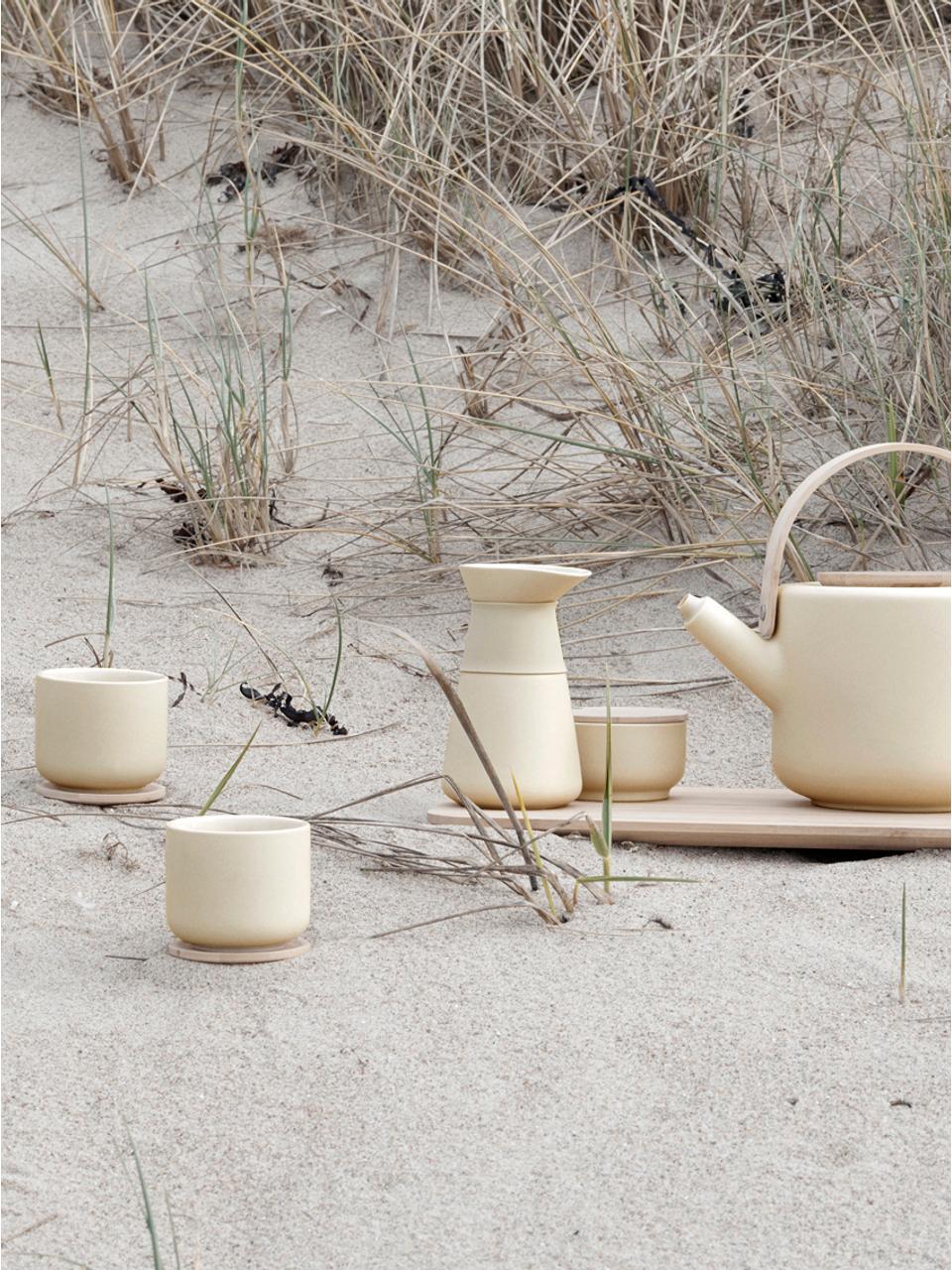 Kaffeezubereiter Theo in Creme matt, Deckel: Bambusholz, Griff: Wärmeisolierendes Silikon, Creme, 500 ml