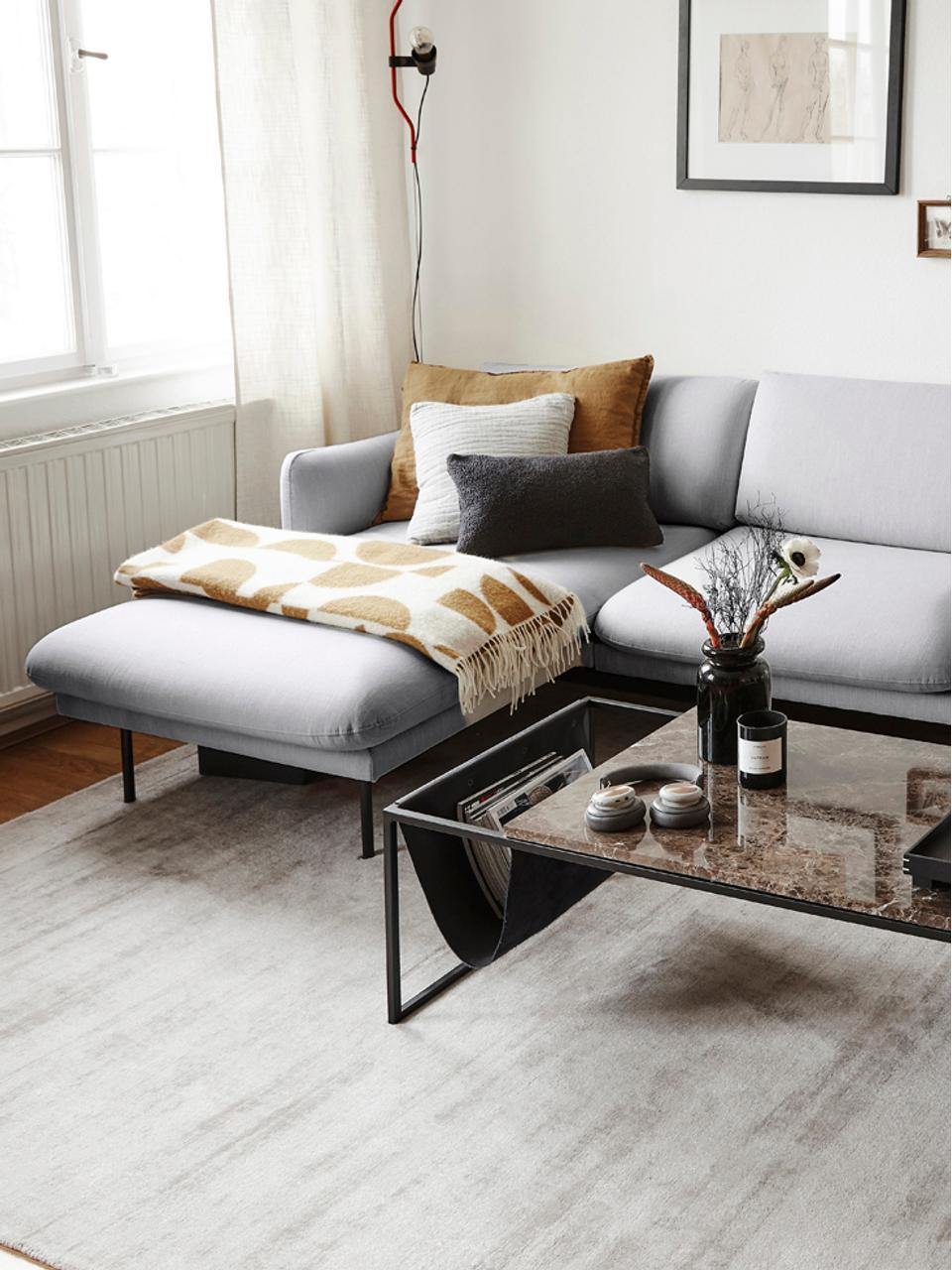 Canapé d'angle gris clair Moby, Tissu gris clair