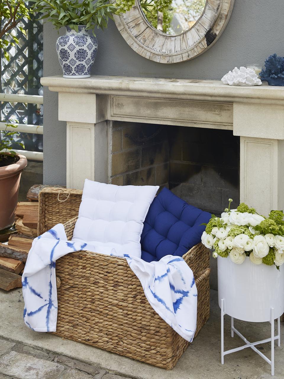 Sitzkissen Ava in Marineblau, Bezug: 100% Baumwolle, Marineblau, 40 x 40 cm