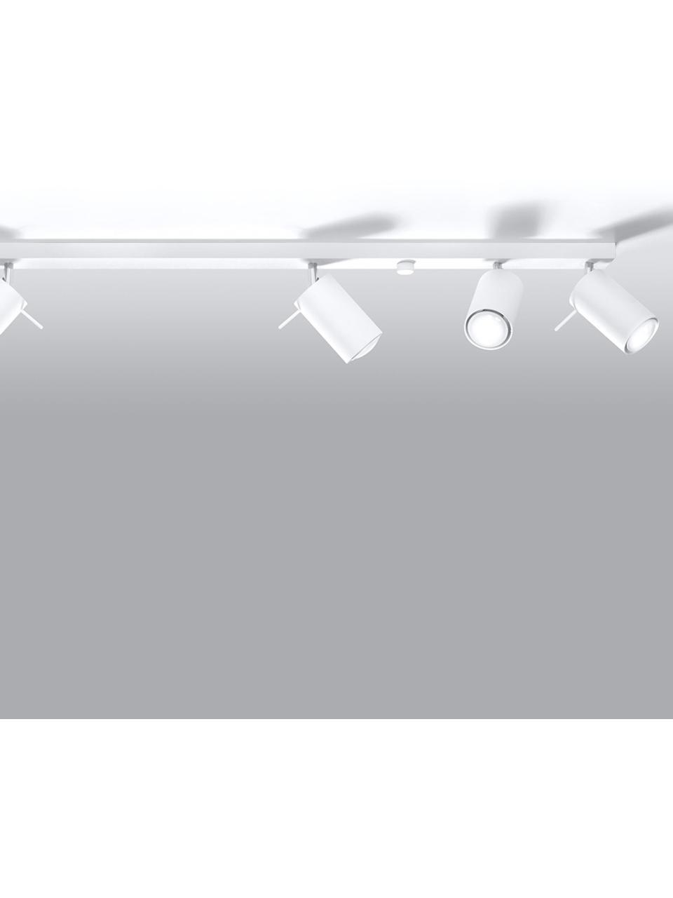 Deckenstrahler Etna in Weiß, Stahl, Weiß, 117 x 16 cm