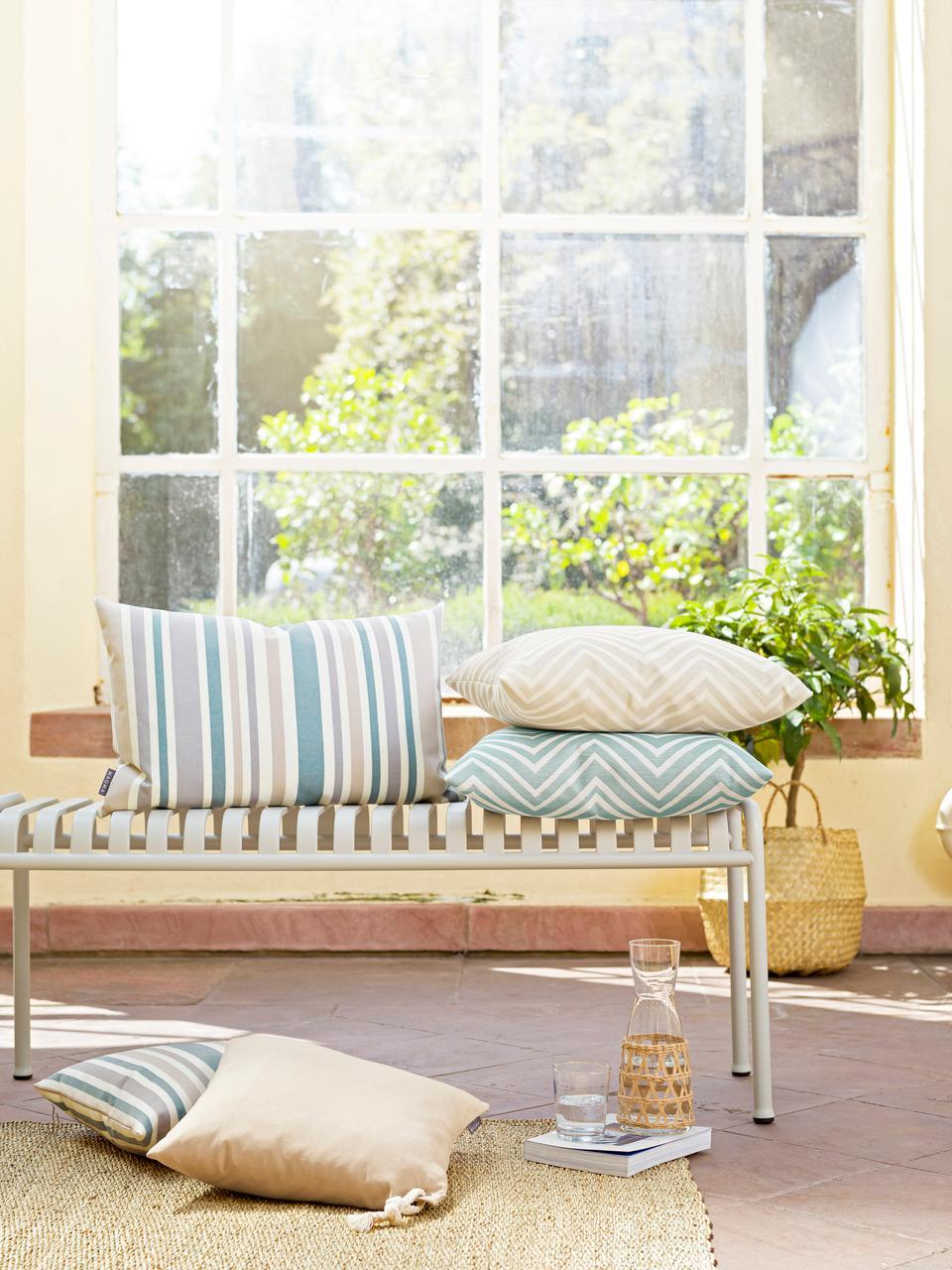 Gestreifte Outdoor-Kissenhülle Marbella, 100% Dralon® Polyacryl, Blau, Weiß, Beige, Grau, 40 x 60 cm