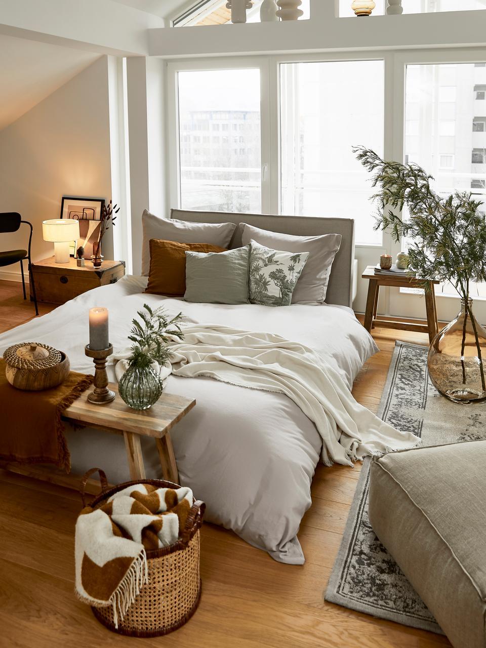 Poszewka na poduszkę z perkalu bawełnianego Elsie, 2 szt., Jasny szary, S 40 x D 80 cm