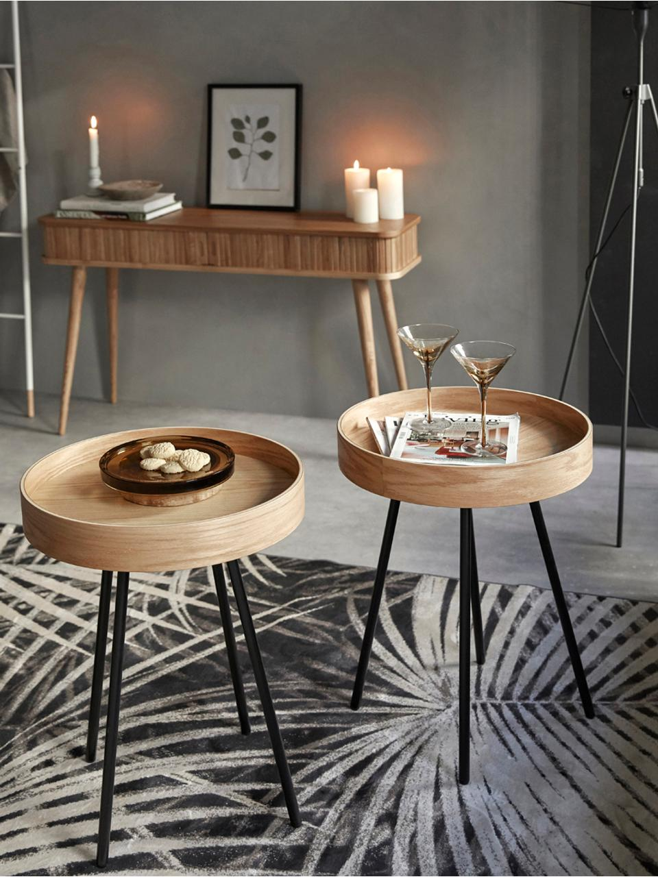 Tavolino-vassoio rotondo Oak Tray, Piano d'appoggio: fibra di media densità (M, Legno di quercia, Ø 47 x Alt. 56 cm
