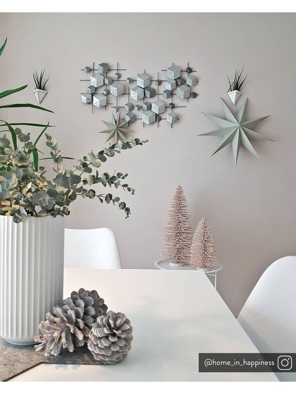 Wandobjekt Cube aus lackiertem Metall, Metall, lackiert, Grau, 92 x 50 cm