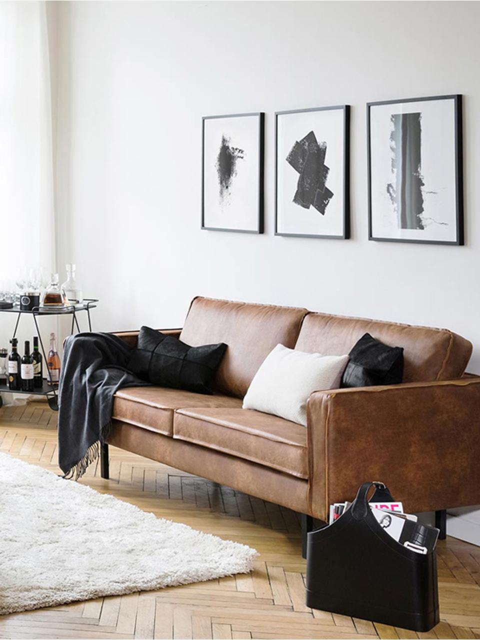 Sofa Hunter (3-Sitzer) in Braun aus recyceltem Leder, Bezug: Recyceltes Leder (70% Led, Gestell: Massives Birkenholz und h, Füße: Metall, pulverbeschichtet, Leder Braun, B 219 x T 90 cm