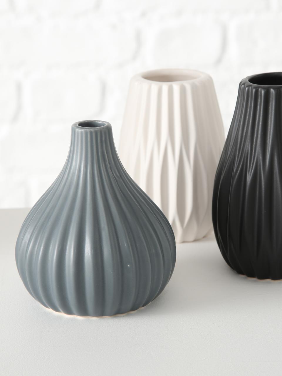 Set 3 vasi in terracotta Wilma, Terracotta, Blu, nero, bianco, Ø 9 x Alt. 11 cm