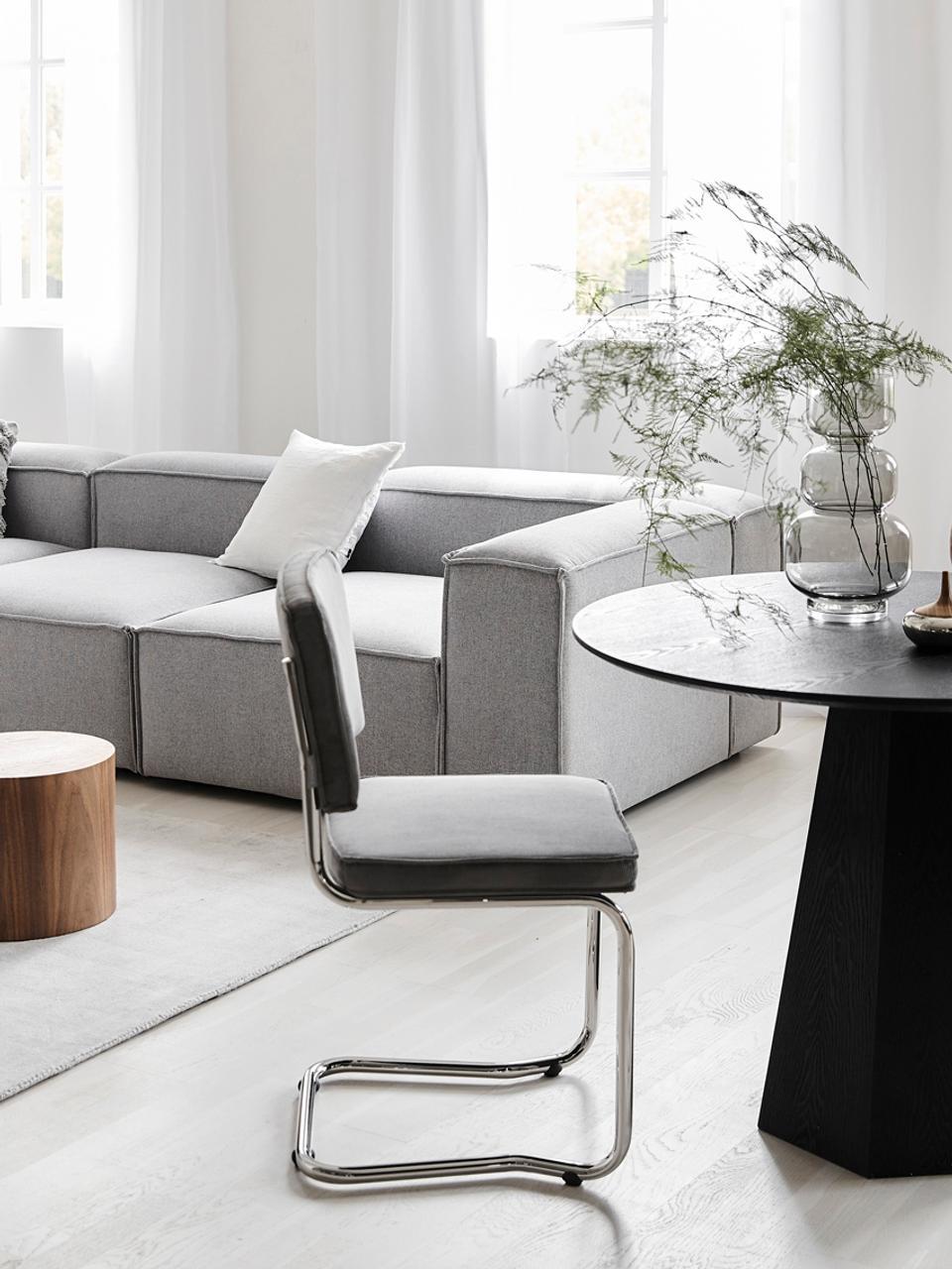 Chaise cantilever velours côtelé gris Kink, Velours côtelé gris clair