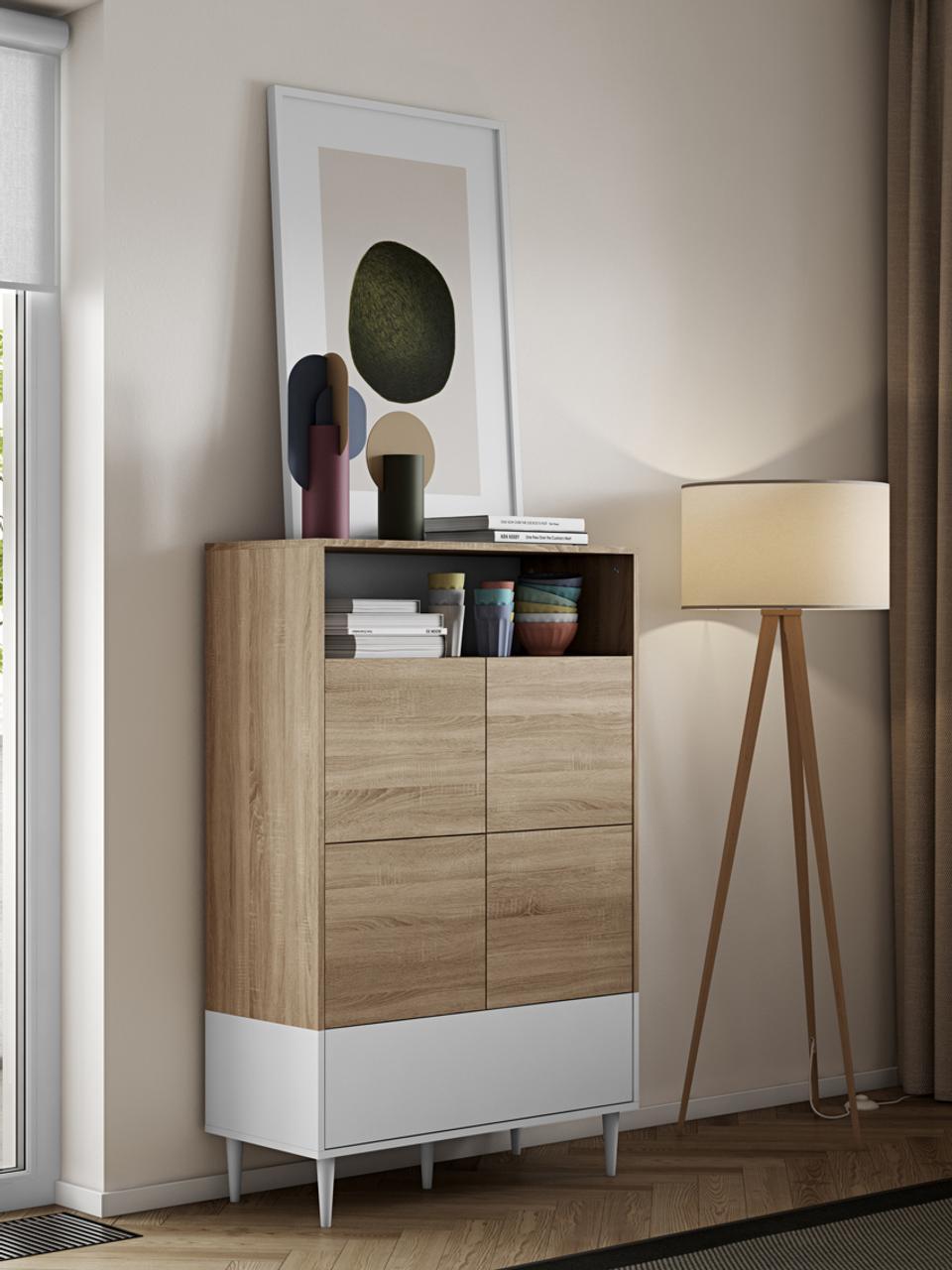 Wysoka komoda scandi z drzwiczkami Horizon, Korpus: płyta wiórowa pokryta mel, Nogi: lite drewno bukowe, lakie, Drewno dębowe, biały, S 90 x W 141 cm