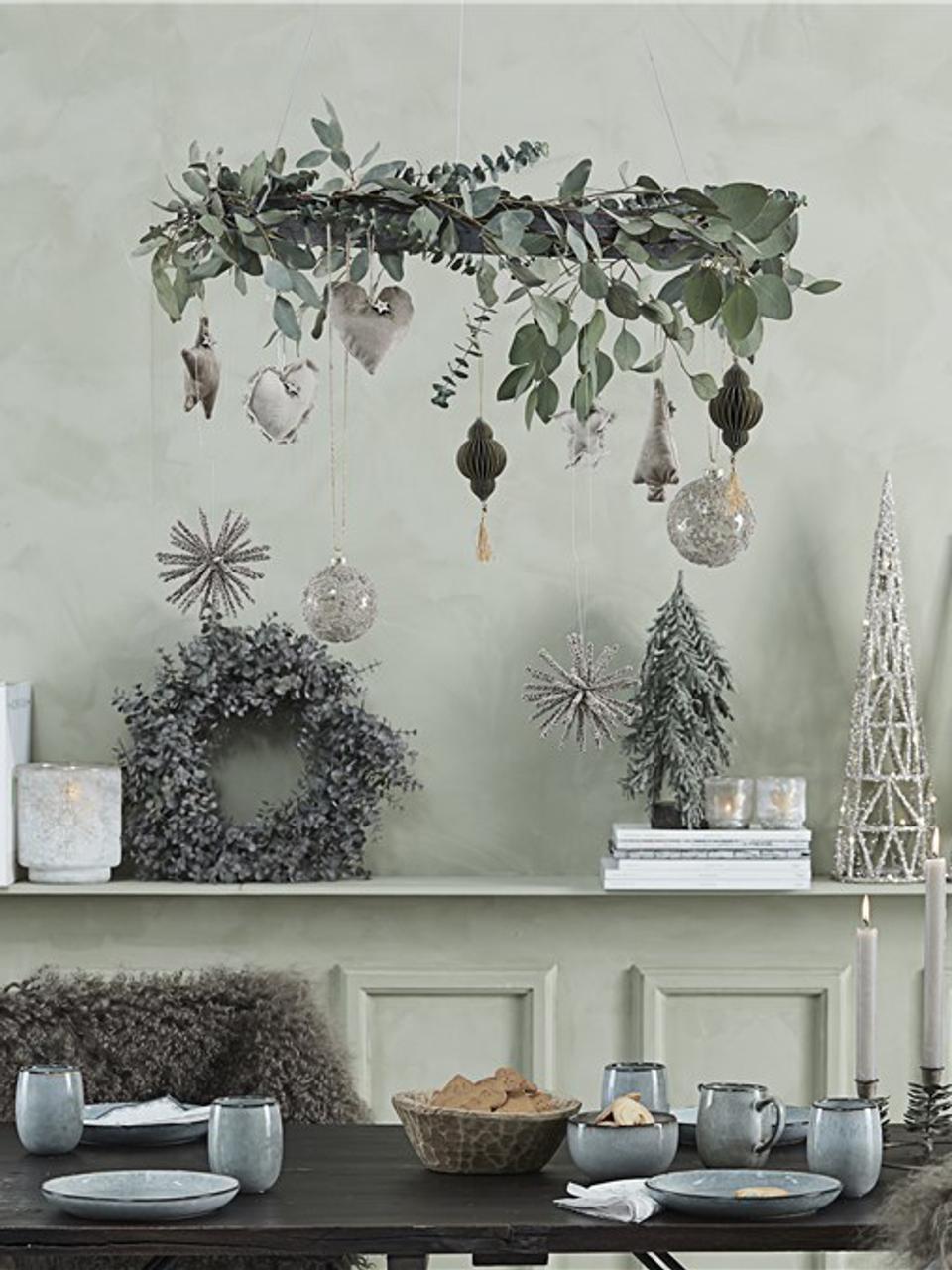 Eukalyptuskranz Eurelia, Kunststoff, Pudergrün, Ø 28 x H 8 cm