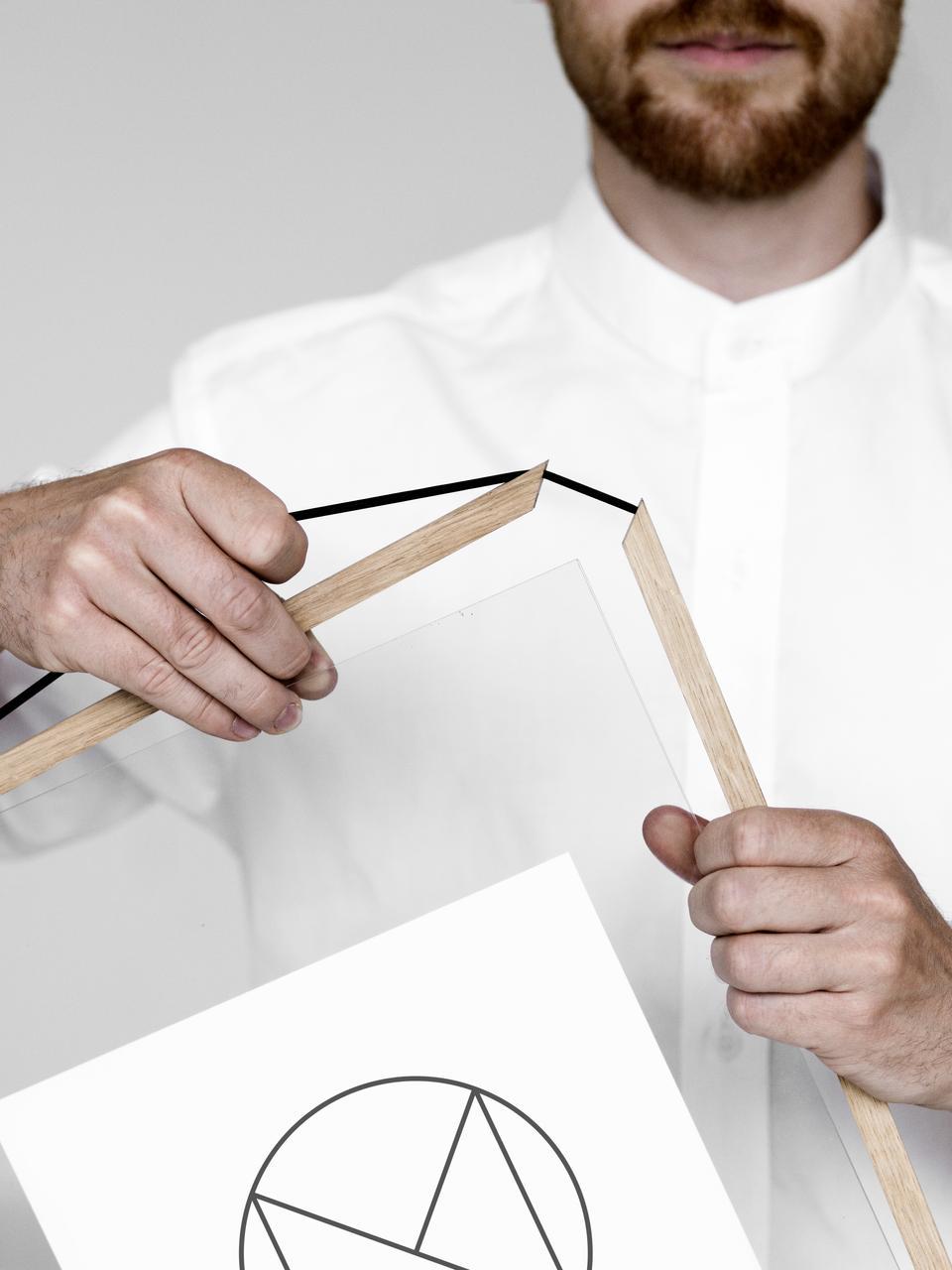 Cornice in legno di quercia Frame, Cornice: legno di quercia non trat, Cornice: legno di quercia<br>Sospensione: nero<br>Frontale e posteriore: traspar, Larg. 17 x Alt. 23 cm