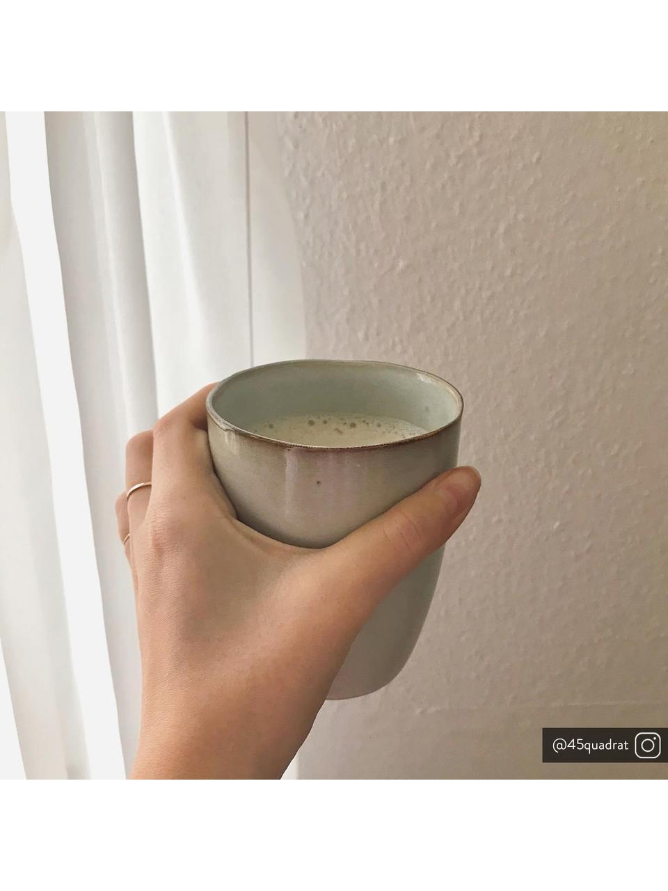 Tasse rustique en grès faite main Thalia, 2pièces, Beige