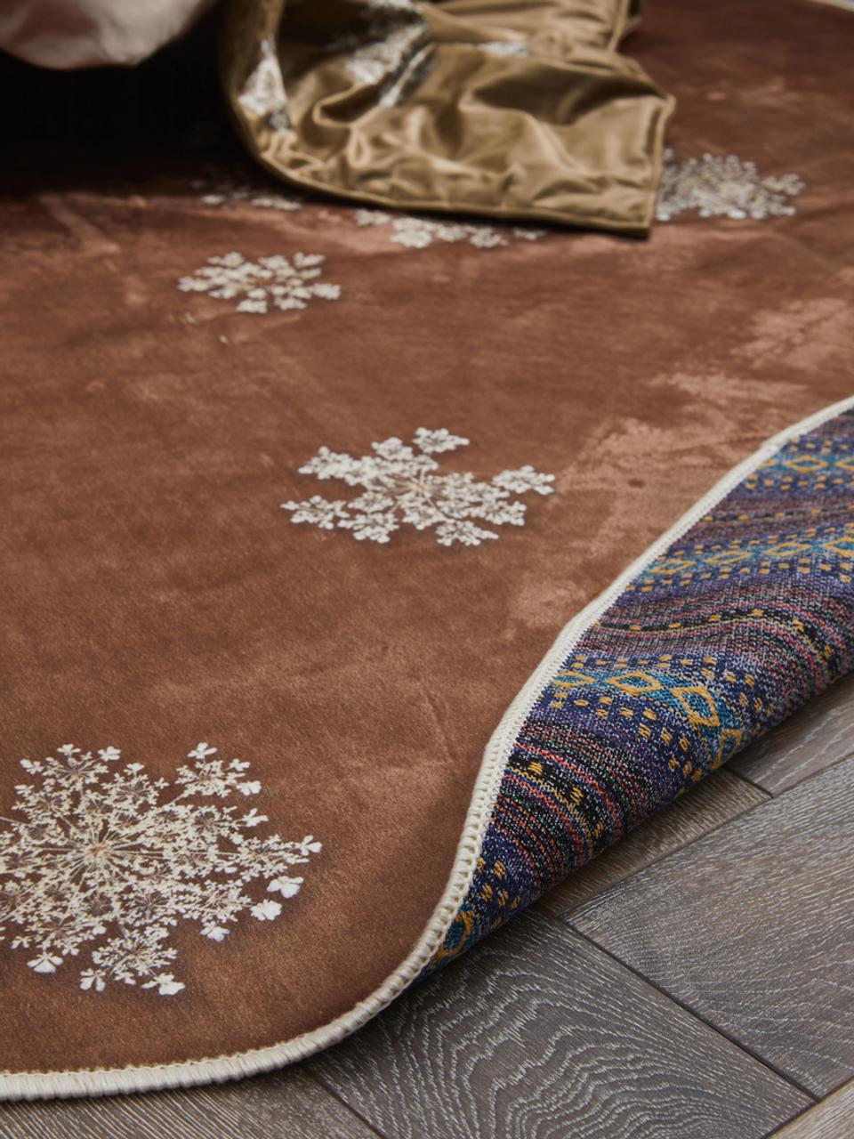 Runder Teppich Lauren mit Blumenprint, 60% Polyester, 30% thermoplastisches Polyurethan, 10% Baumwolle, Braun, Beige, Ø 90 cm (Größe XS)
