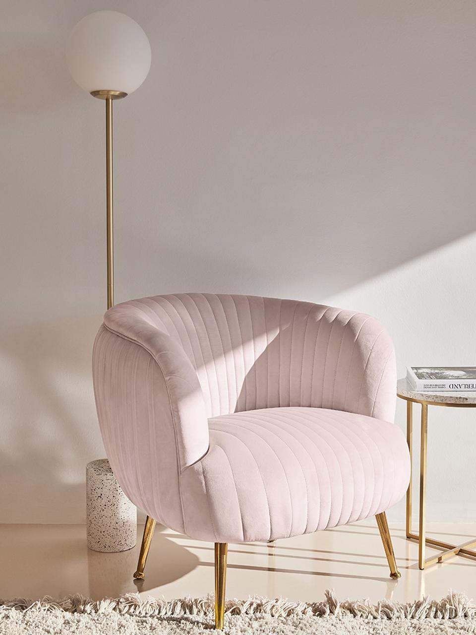 Fluwelen fauteuil Cara in roze, Bekleding: fluweel (polyester), Frame: massief berkenhout, spaan, Poten: gecoat metaal, Fluweel lichtroze, 81 x 78 cm