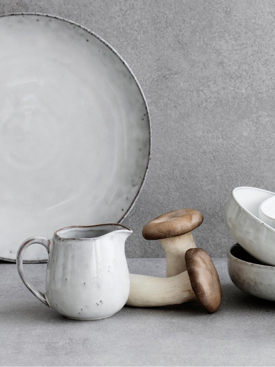 Handgemachte Speiseteller Nordic Sand aus Steingut, 4 Stück, Steingut, Sand, Ø 26 cm