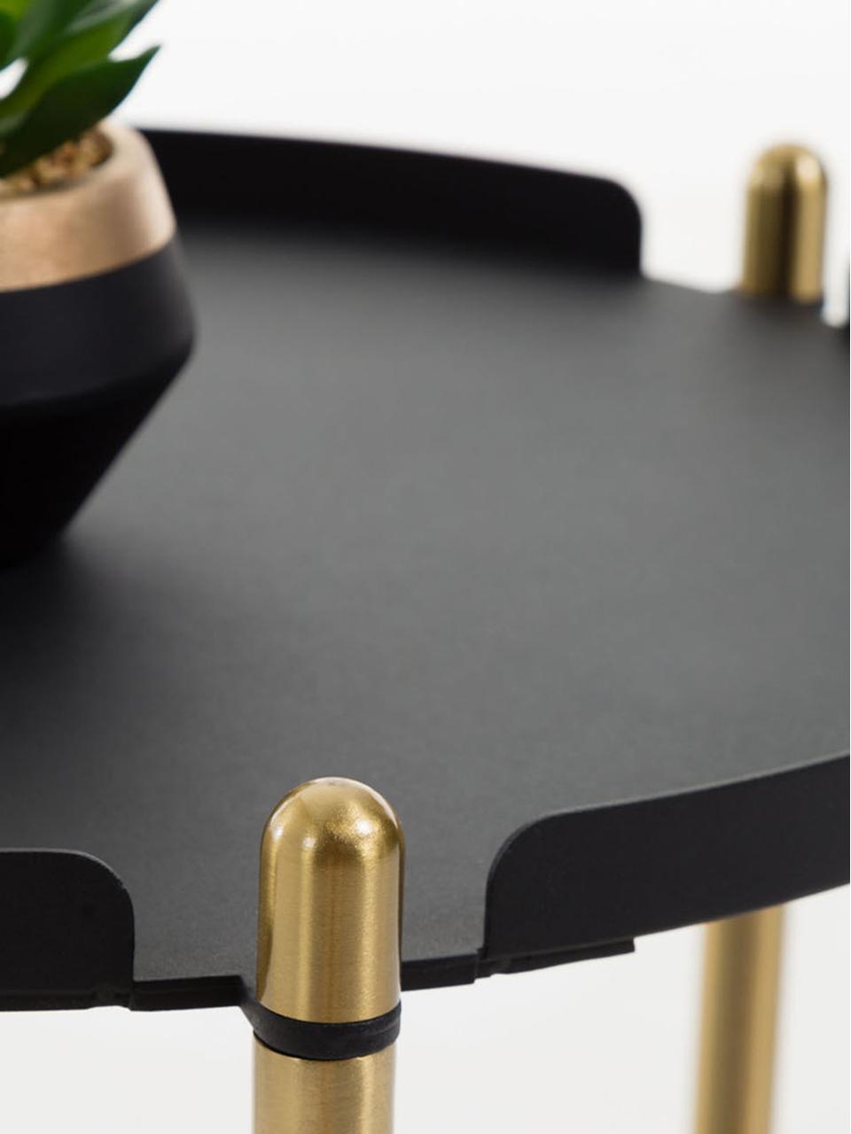 Carrello di servizio rotondo Maj, Metallo, Nero ottonato, Ø 42 x Alt. 53 cm