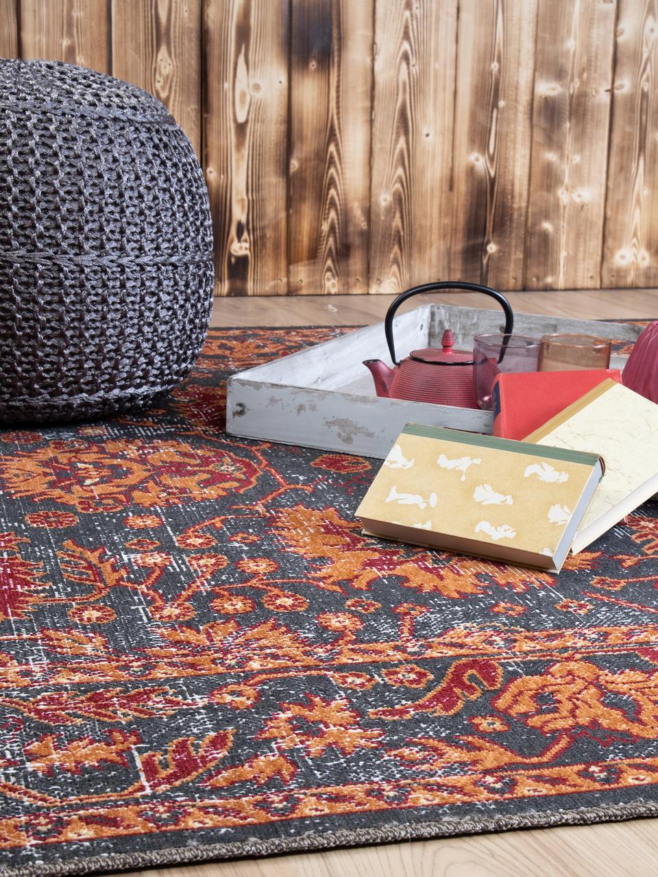 In & Outdoor-Teppich Tilas in Orange/Grau, Orient Style, 100% Polypropylen, Anthrazit, Orange, Rot, B 80 x L 150 cm (Größe XS)