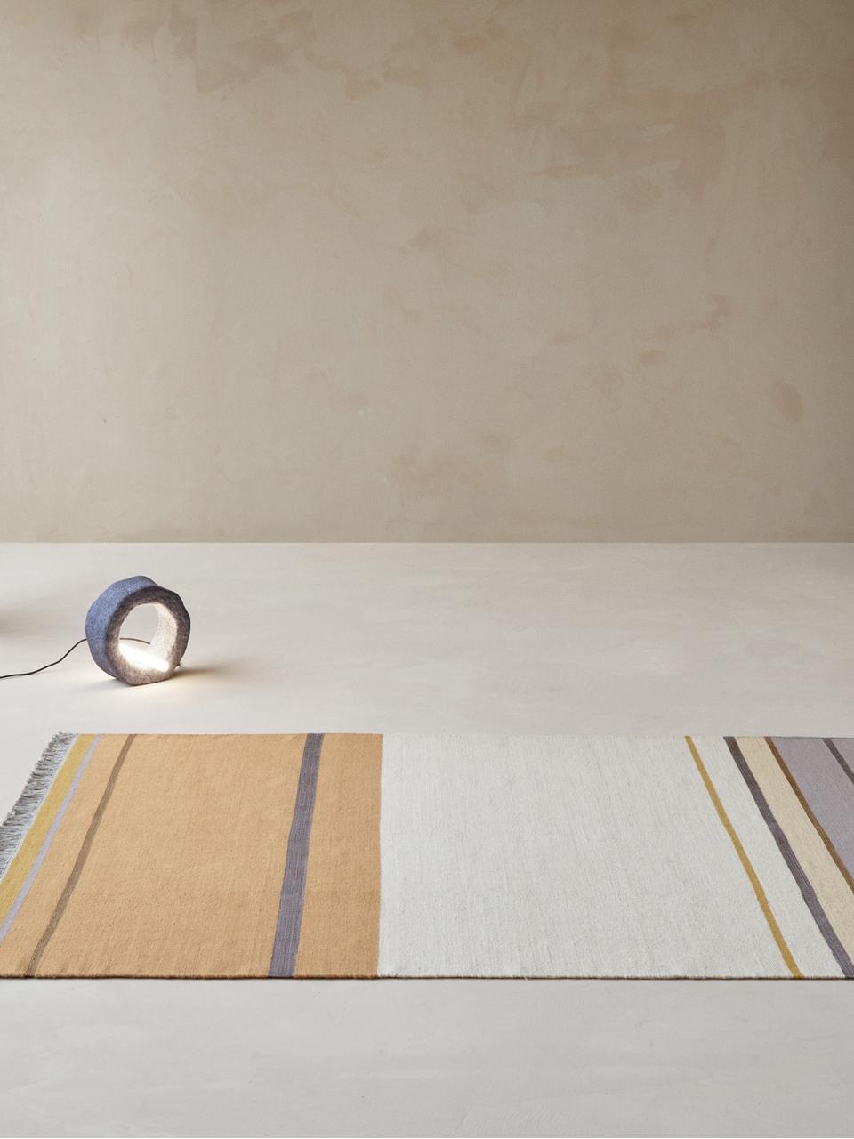 Handgeweven wollen vloerkleed Metallum in beige/geel met franjes, Multicolour, B 200 x L 300 cm (maat L)