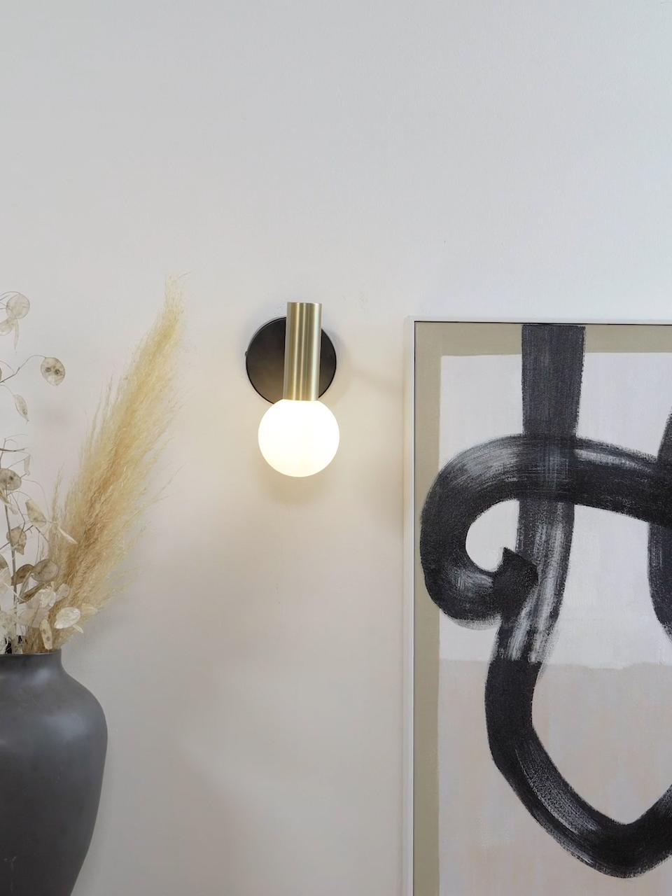 Applique murale LED moderneWilson, Noir, couleur dorée