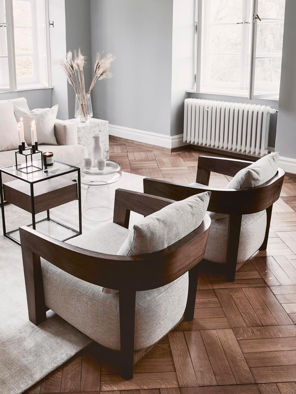 Sessel Rubautelli aus Holz, Bezug: 58% Polyester, 42% Olefin, Gestell: Mitteldichte Faserplatte , Webstoff Beige, B 74 x T 80 cm