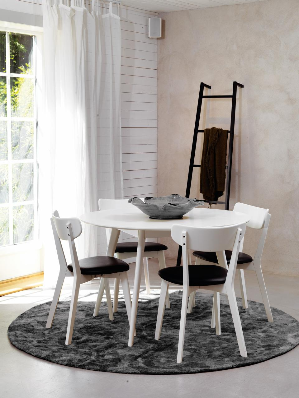 Table ronde en bois Yumi, Blanc