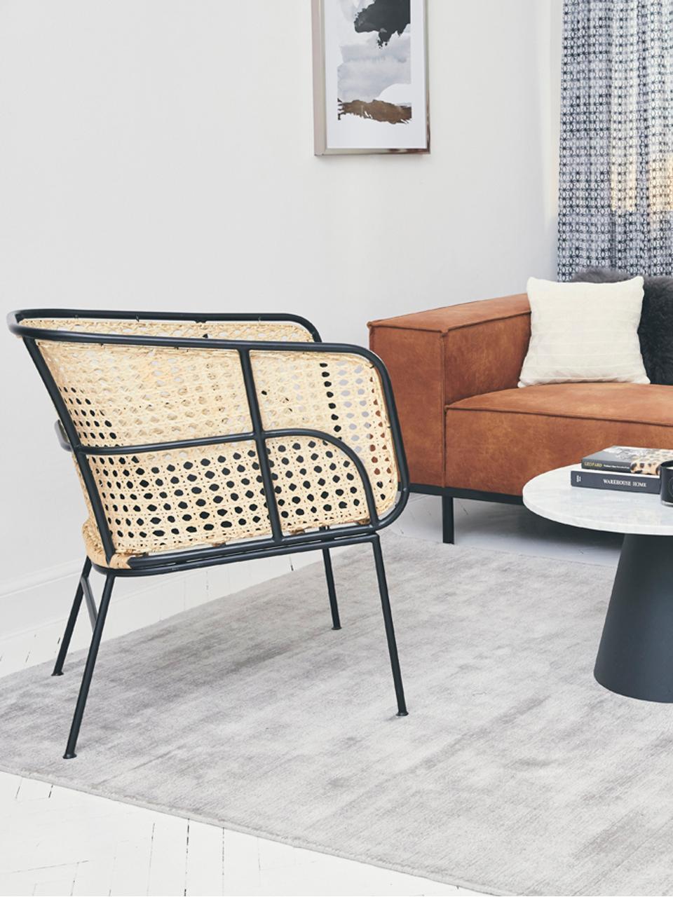 Loungestuhl Merete mit Wiener Geflecht, Sitzfläche: Rattan, Gestell: Metall, pulverbeschichtet, Sitzfläche: RattanGestell: Schwarz, mattKissenhüllen: Schwarz, B 72 x T 74 cm