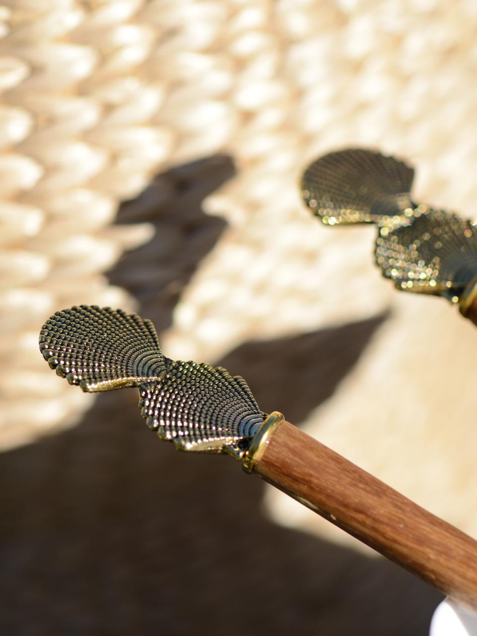 Holz Salatbesteck Shell mit goldenen Muscheln am Griff, 2er Set, Holz, Metall, Holz, Goldfarben, L 25 cm