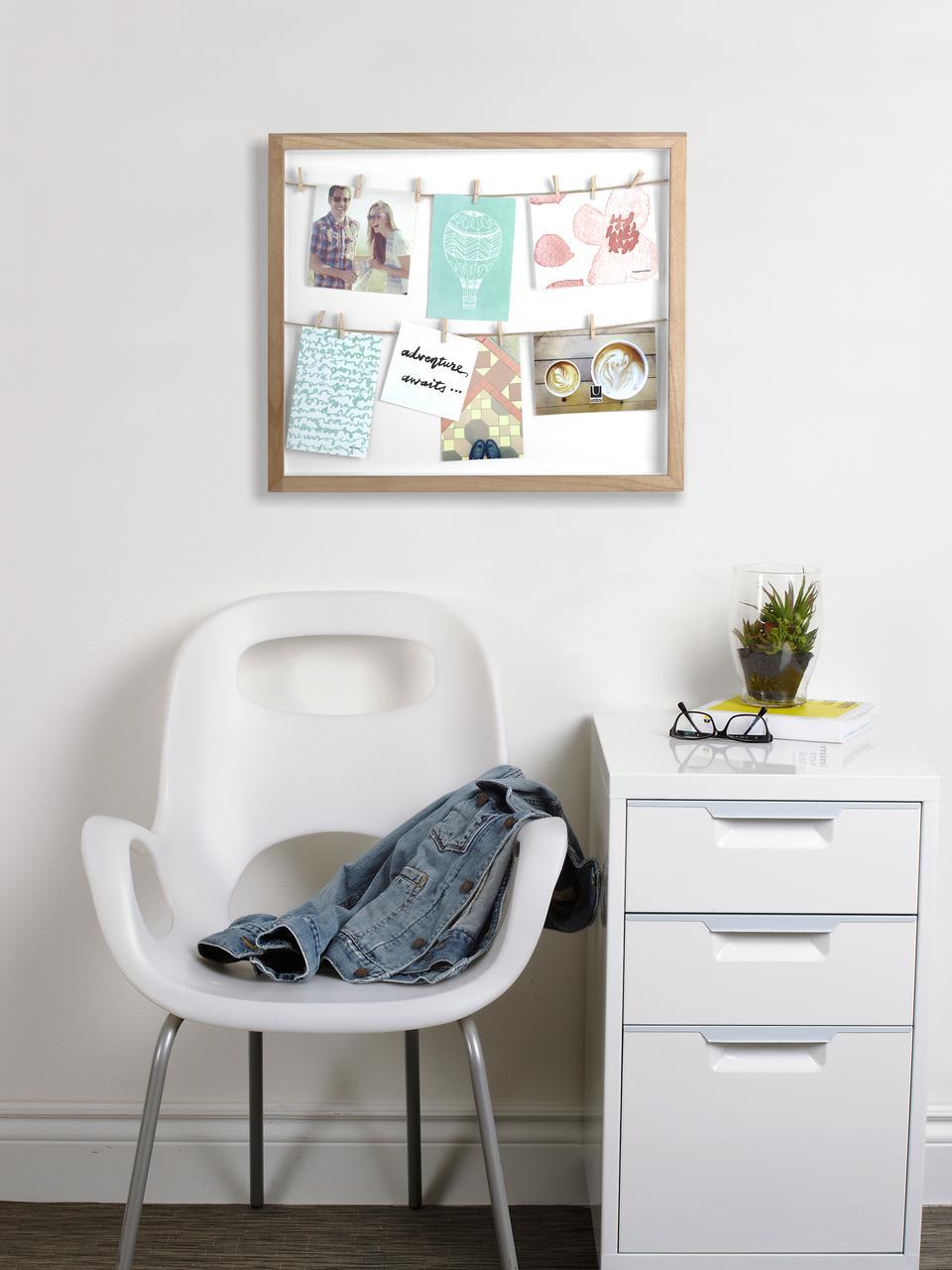 Cadre Clothesline, Bois de paulownia, blanc, beige