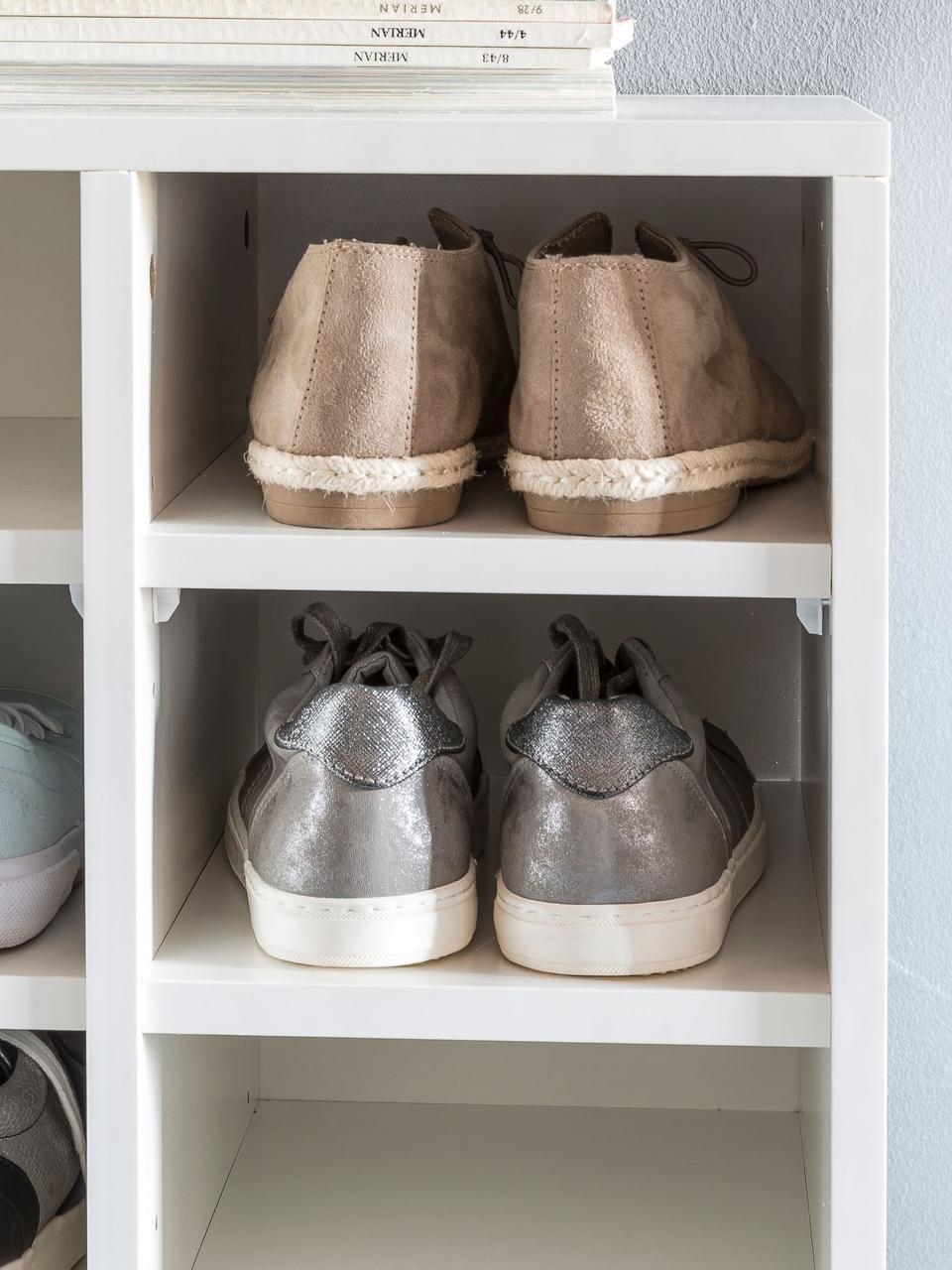 Schuhregal Diego mit 20 Fächern, Spanplatte, melaminbeschichtet, Weiß, 91 x 67 cm