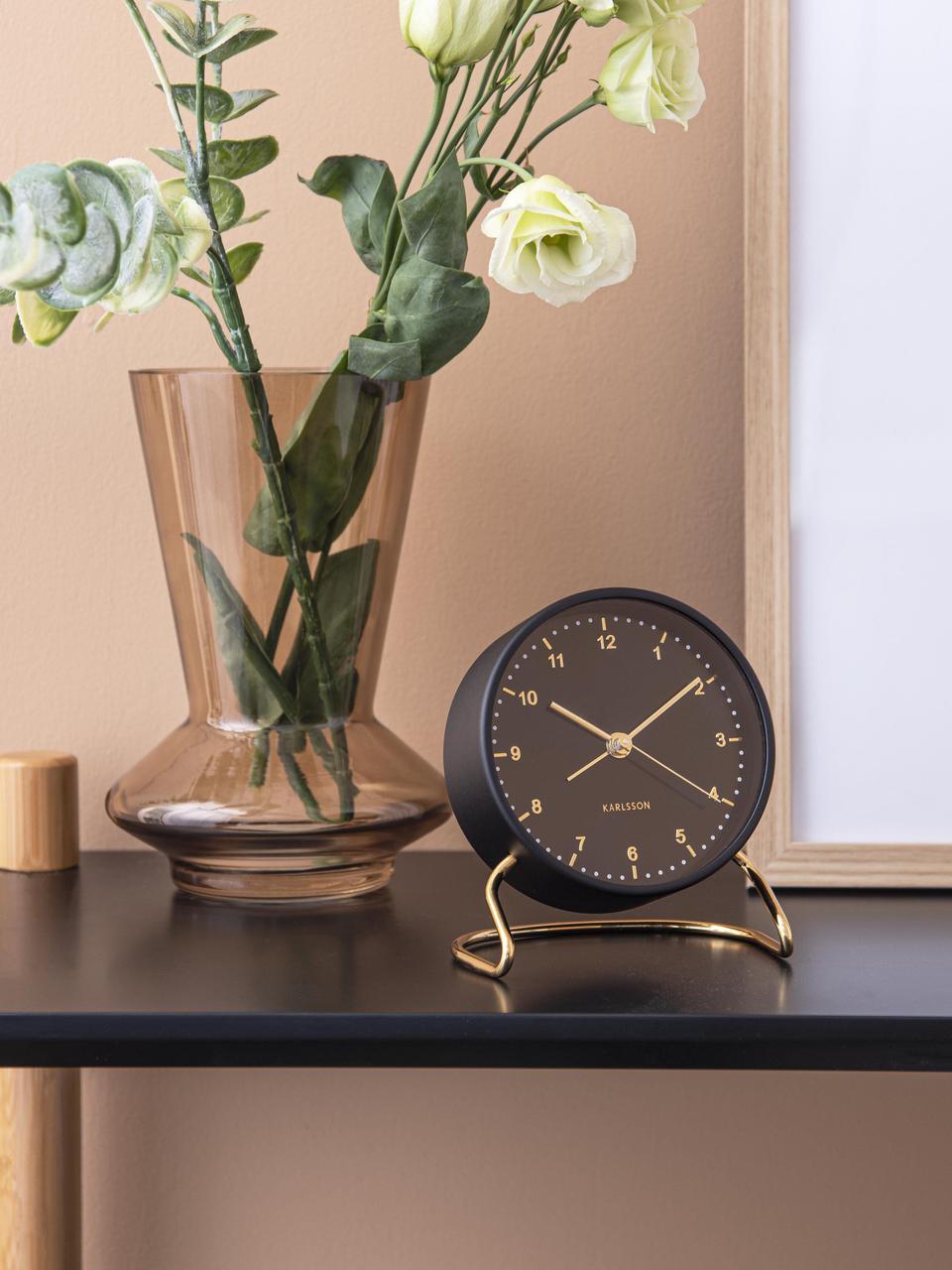 Despertador Stylish, Aluminio recubierto, Negro, latón, Ø 9 cm