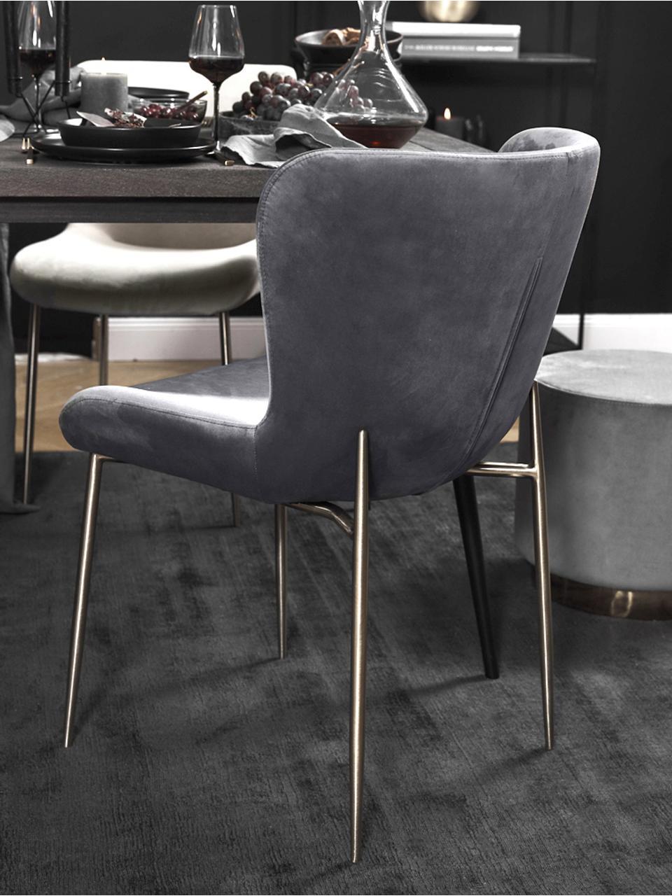 Sedia imbottita in velluto Tess, Rivestimento: velluto (poliestere) Con , Gambe: metallo rivestito, Velluto antracite, gambe oro, Larg. 48 x Alt. 64 cm