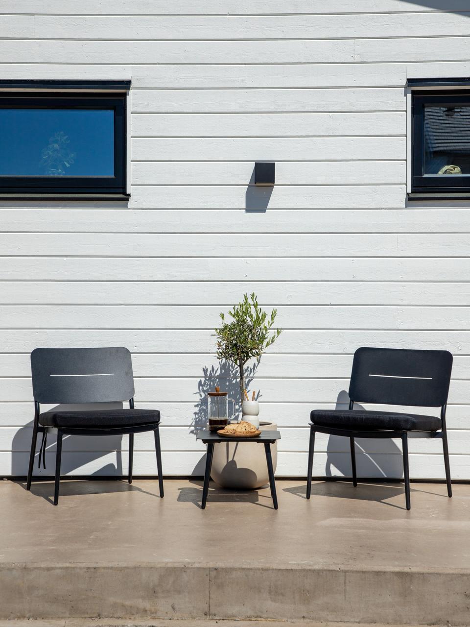 Metalen tuin bijzettafel Lina, Gelakt metaal, Zwart, 40 x 40 cm
