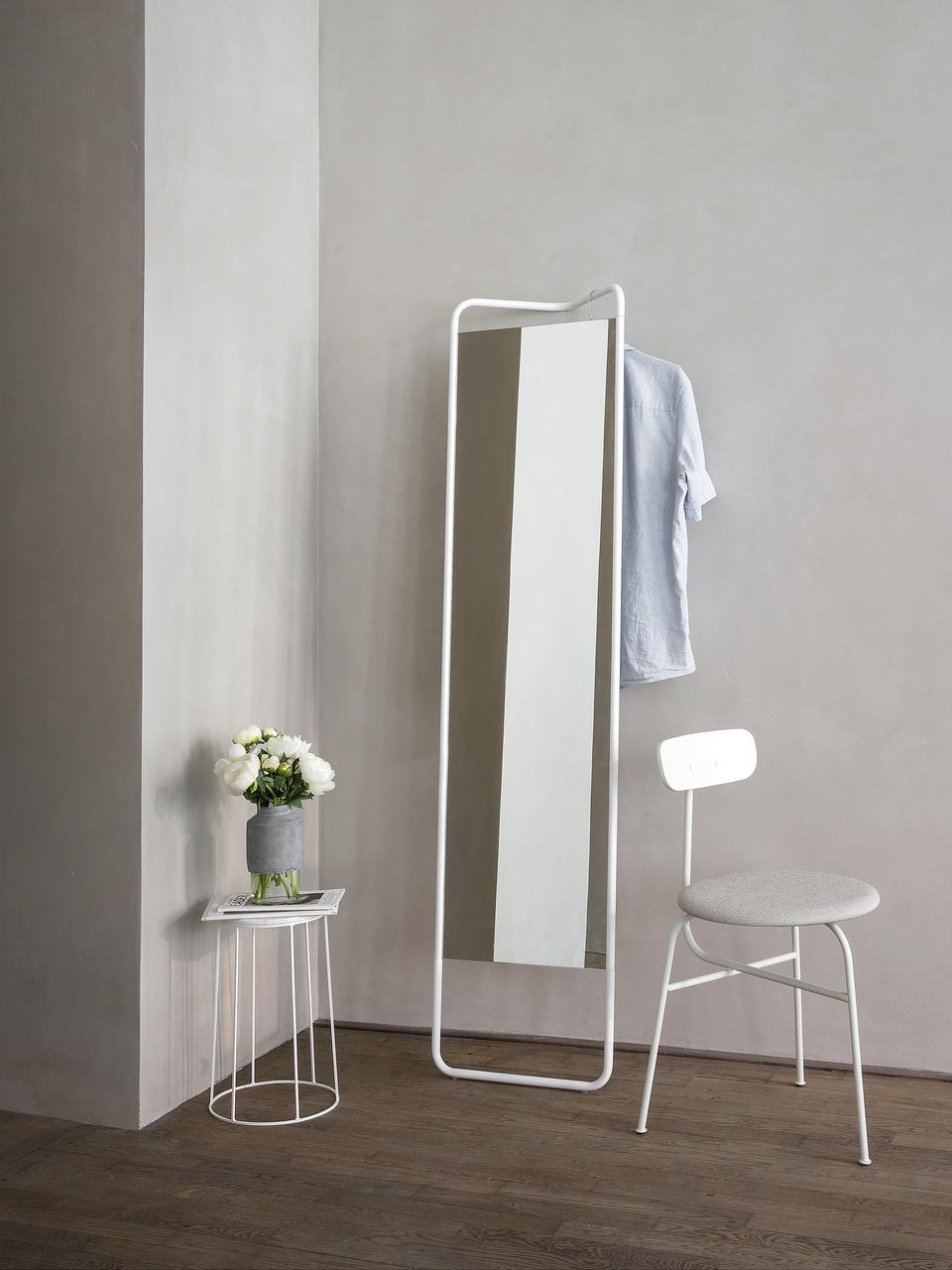 Eckiger Anlehnspiegel Kasch mit weißem Rahmen, Rahmen: Aluminium, pulverbeschich, Spiegelfläche: Spiegelglas, Weiß, 42 x 175 cm