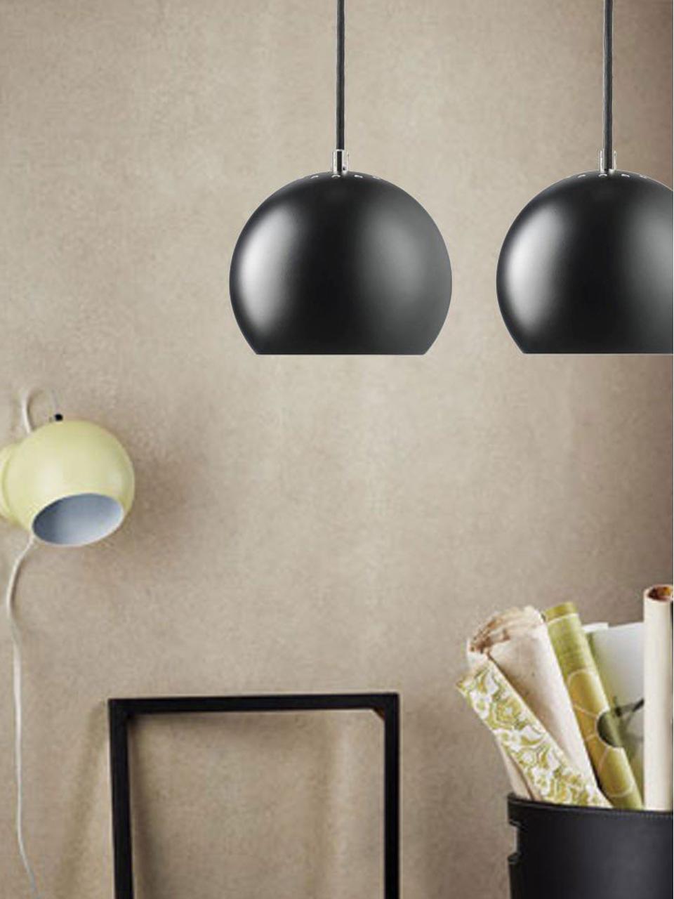 Kleine Kugel-Pendelleuchte Ball, Metall, pulverbeschichtet, Schwarz, matt, Ø 18 x H 16 cm