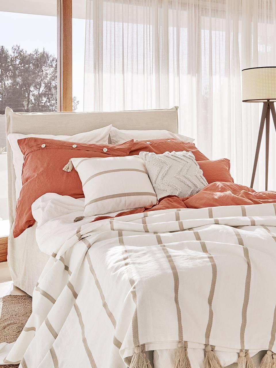 Łóżko kontynentalne premium Violet, Nogi: lite drewno bukowe, lakie, Beżowy, 180 x 200 cm