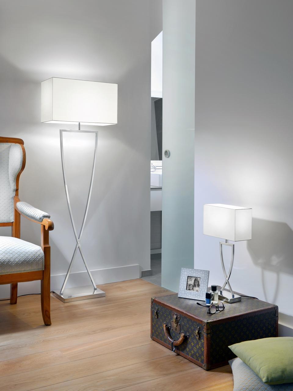 Lampadaire en métal chromé Toulouse, Chrome, blanc