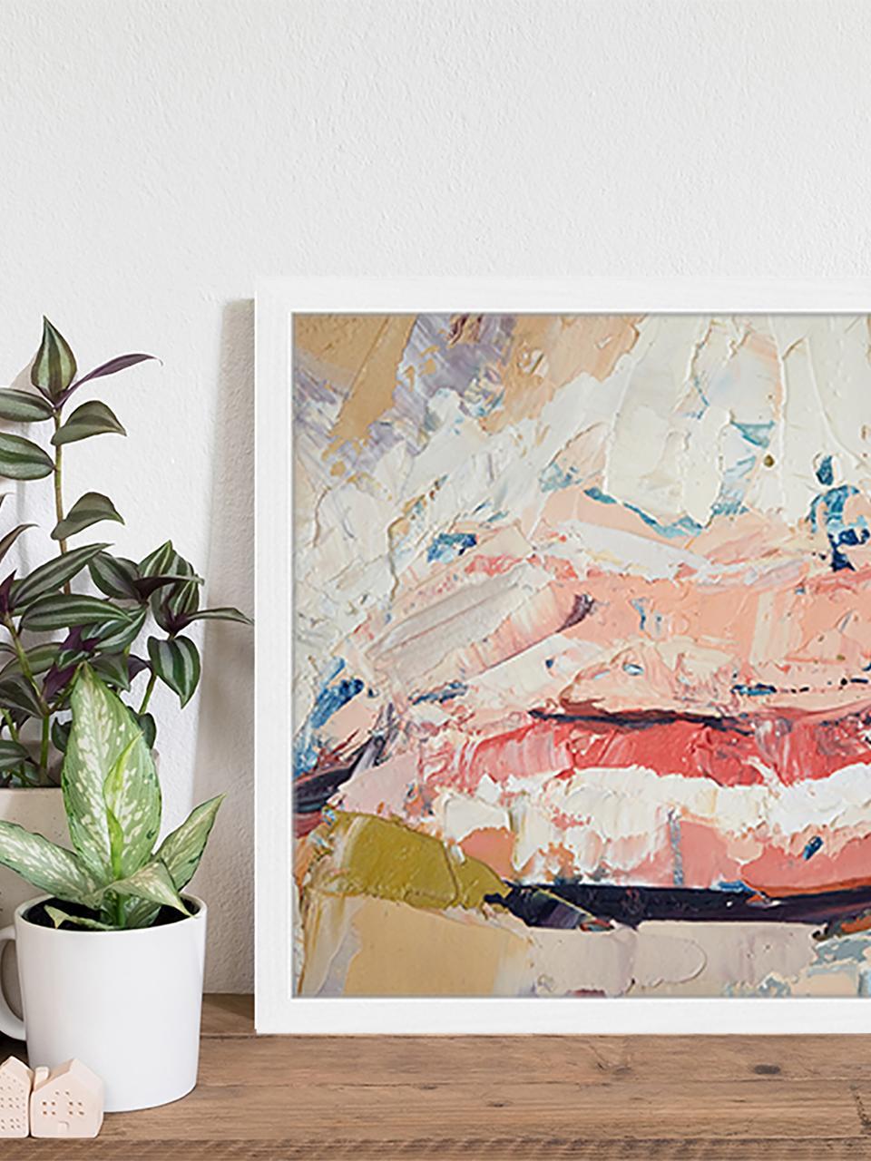 Gerahmter Digitaldruck Kiss Me, Bild: Digitaldruck auf Papier, , Rahmen: Holz, lackiert, Front: Plexiglas, Mehrfarbig, 53 x 43 cm