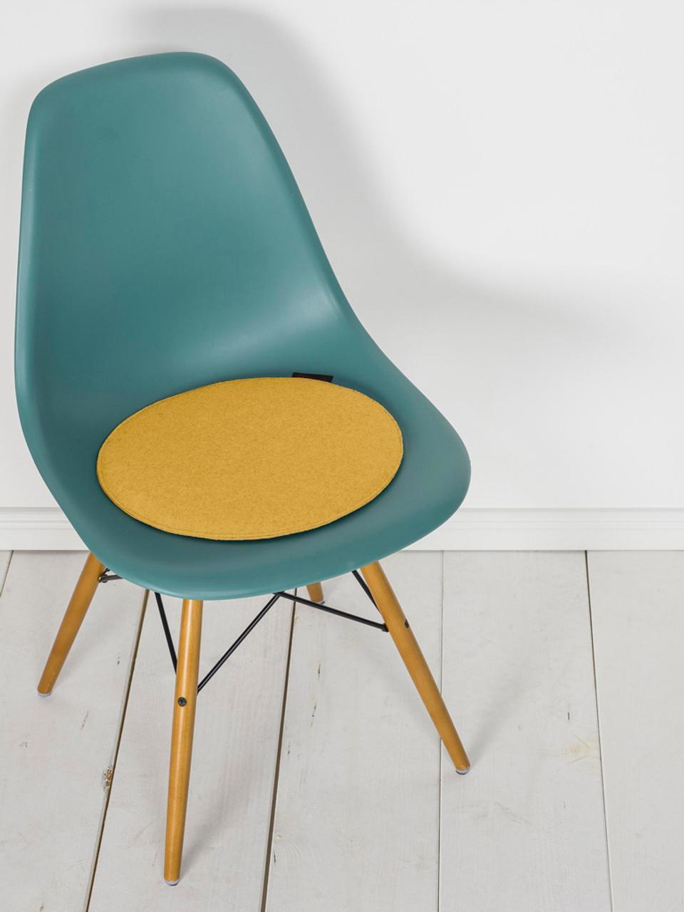 Cuscino sedia rotondo Avaro 4 pz, Ocra, Ø 35 x Alt. 1 cm