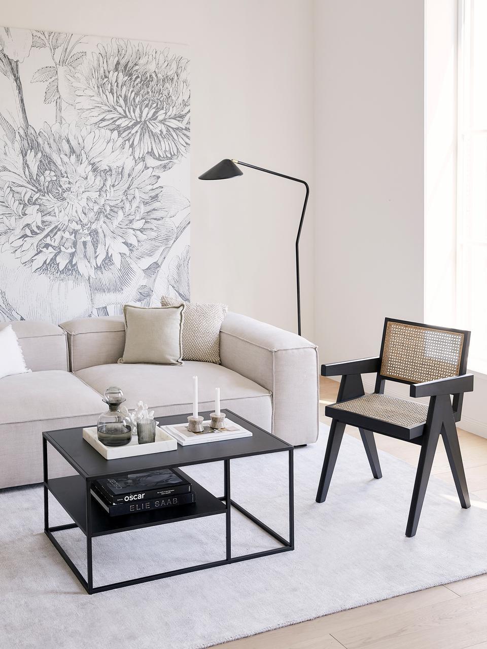 Tavolino da salotto con piano d'appoggio Newton, Metallo  verniciato a polvere, Nero, Larg. 90 x Alt. 45 cm