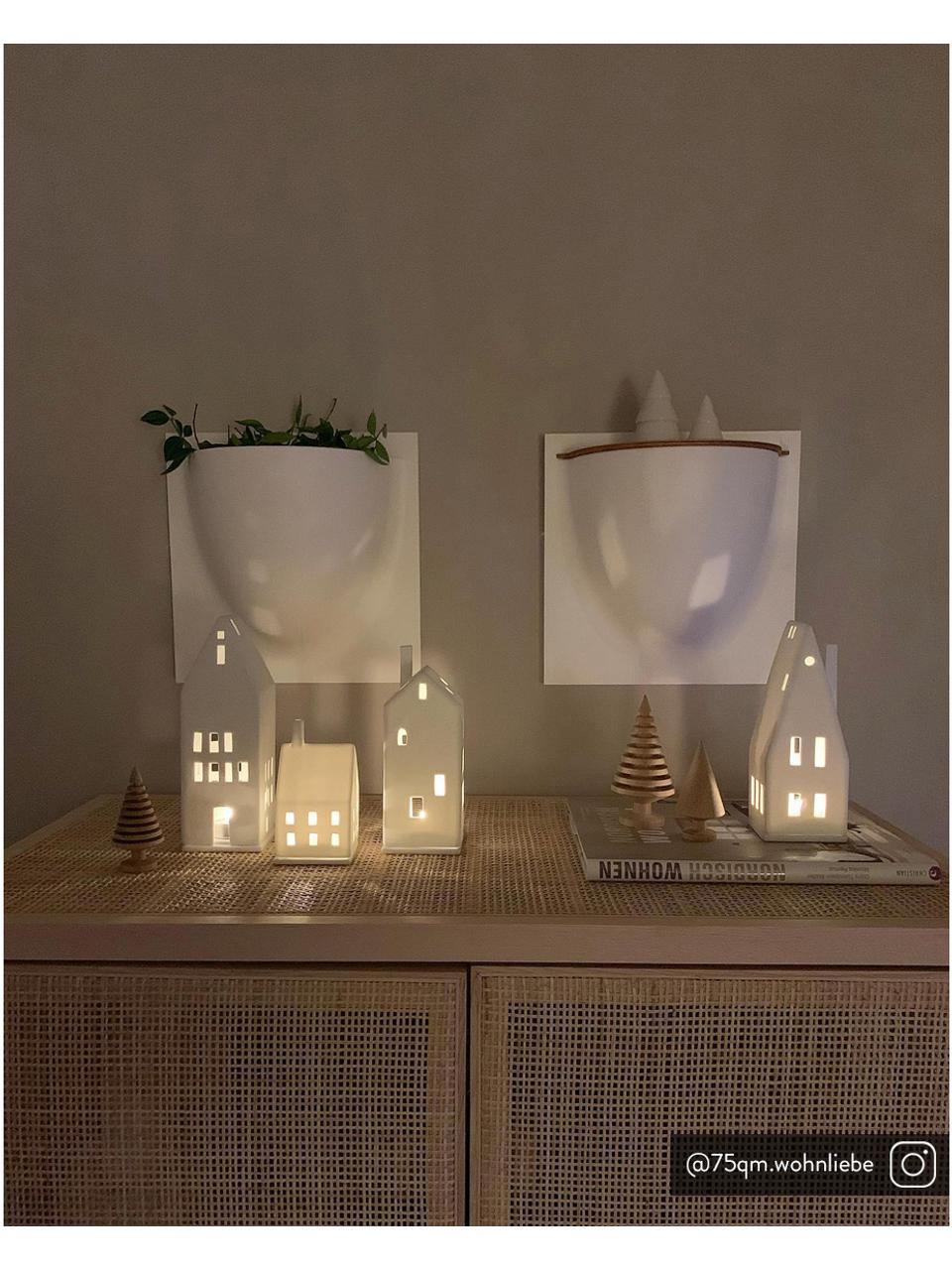 Teelichthalter Lichtzauber, Porzellan, Weiß, 7 x 10 cm